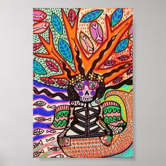 Yoga Lotus Mermaid Sugar Skull Poster