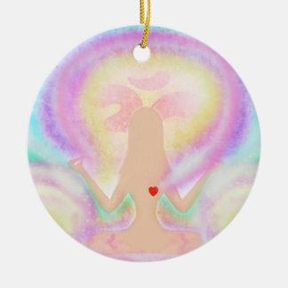 Yoga lotus pose. Decoration Round Ceramic Decoration