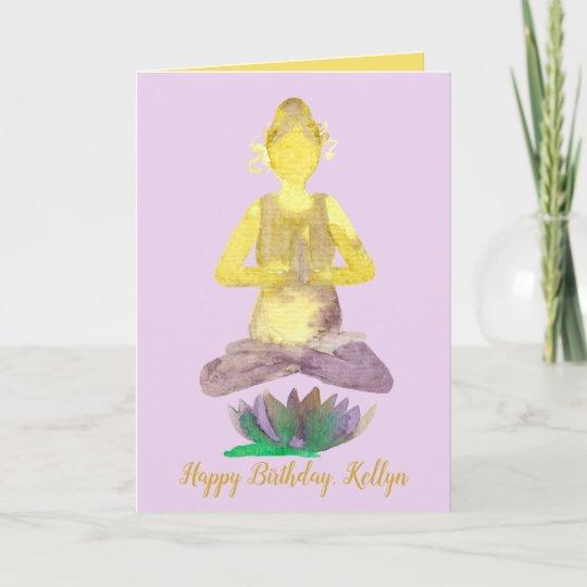 Yoga Lotus Pose Happy Birthday Card