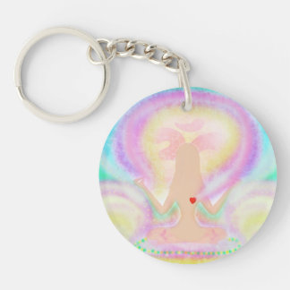 Yoga lotus pose. Key Ring Double-Sided Round Acrylic Key Ring