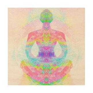 Yoga lotus pose. wood canvas