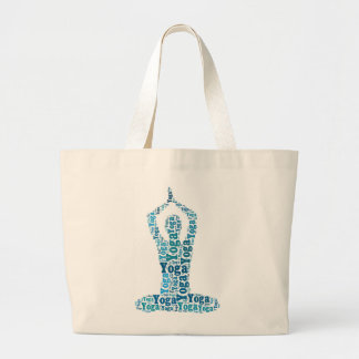 Yoga Lotus Pose Word Cloud Jumbo Tote Tote Bags