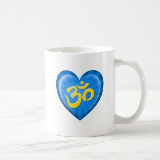 Yoga Love Heart Om Blue and Yellow Coffee Mugs