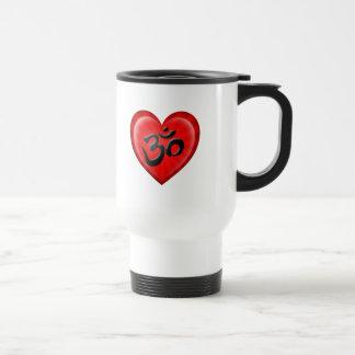 Yoga Love Heart Om Red and Black Travel Mug