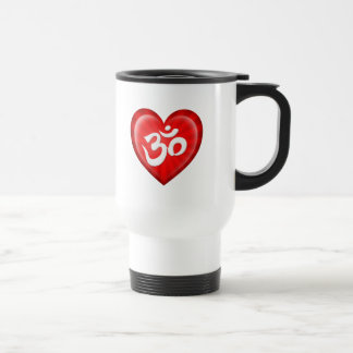Yoga Love Heart Om Red and White Stainless Steel Travel Mug