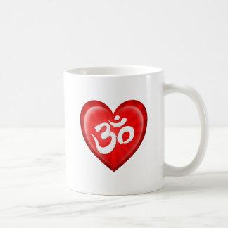 Yoga Love Heart Om Red and White Coffee Mug