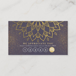 Purple and gold business cards business card printing zazzle uk yoga loyalty 6 punch mandala purple gold glitter colourmoves