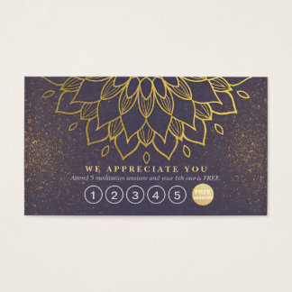 Yoga Loyalty 6 Punch Mandala Purple & Gold Glitter Business Card