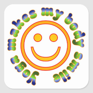 Yoga Makes My Body Smile Health Fitness New Age Square Sticker