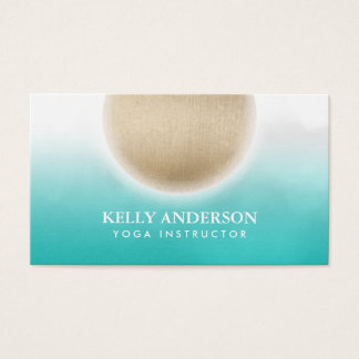 Yoga & Mediation Gold Circle Green Watercolor Business Card