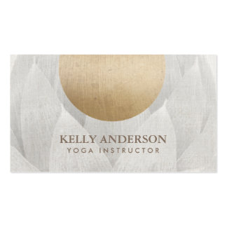 Yoga & Mediation Gold Circle Lotus Floral Linen Pack Of Standard Business Cards