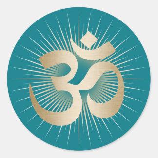 Yoga & Meditation Gold Rays Om Mantra Elegant Round Sticker