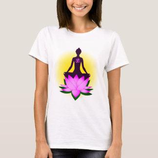 Yoga meditation in pink lotus flower woman's shirt
