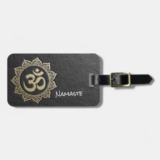 YOGA Meditation Instructor Black & Gold OM Mandala Luggage Tag