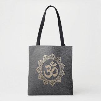 YOGA Meditation Instructor Black & Gold OM Mandala Tote Bag