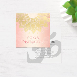 YOGA Meditation Instructor Chic Rose Gold Mandala Square Business Card