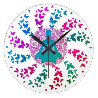 yoga meditation positive energy  peace of mind fre large clock