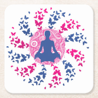 yoga meditation positive energy  peace of mind fre square paper coaster