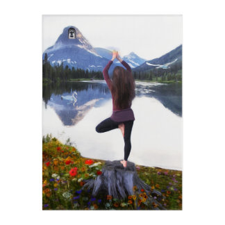 Yoga Mountain Acrylic Wall Art