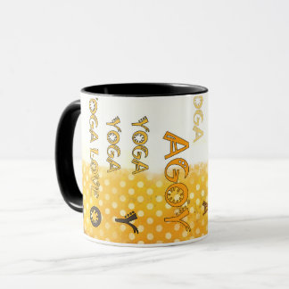 Yoga Mug Yellow Mustard Brown Coffee Mug