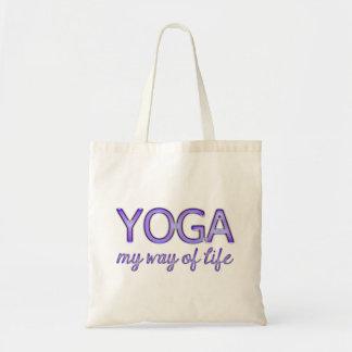 Yoga My Way of Life Purple Shiny Look Typography Tote Bag