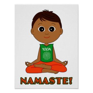 Yoga Namaste with Boy Poster