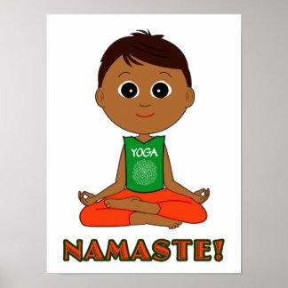 Yoga Namaste with Boy Posters