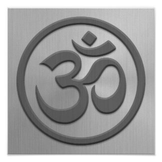 Yoga Om Circle with Stainless Steel Effect Poster