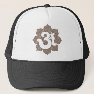 Yoga Om in Lotus brown gray Trucker Hat