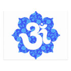 Yoga Om in Lotus dark blue Postcard