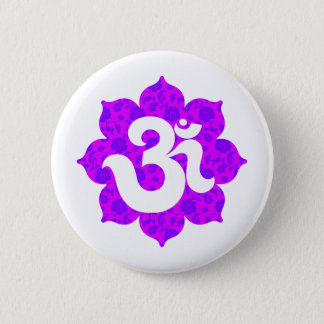 Yoga Om in Lotus purple pink 6 Cm Round Badge