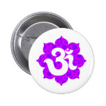 Yoga Om in Lotus purple pink Button