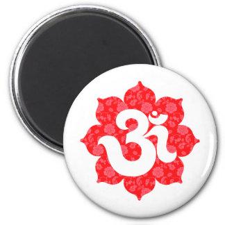Yoga Om in Lotus Red Magnet