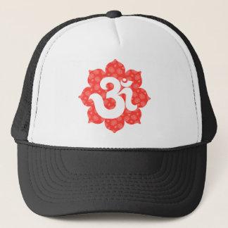 Yoga Om in Lotus red orange Trucker Hat