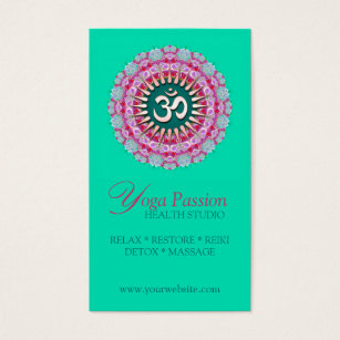 Kinesiology business cards business card printing zazzle uk yoga om pink green new age business cards colourmoves