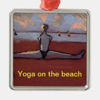Yoga on the beach Silver-Colored square decoration