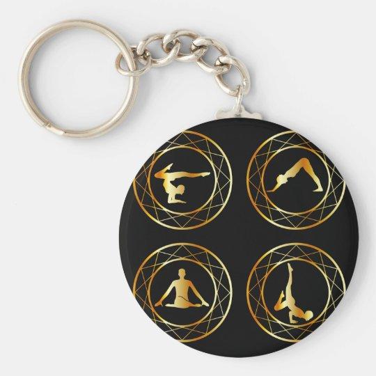 Yoga or gymnast silhouette basic round button key ring