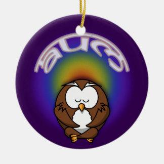 yoga owl round ceramic decoration
