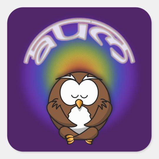 yoga owl square sticker