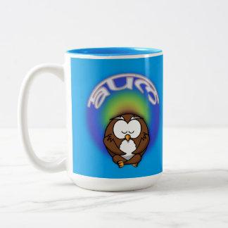 yoga owl Two-Tone coffee mug