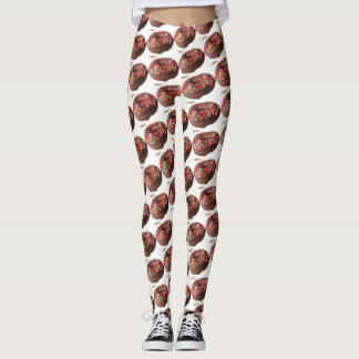 Yoga Pants Chocolate Sprinkle Donut Pattern
