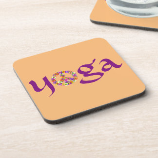 Yoga Peace Sign Floral on Peach Drink Coasters