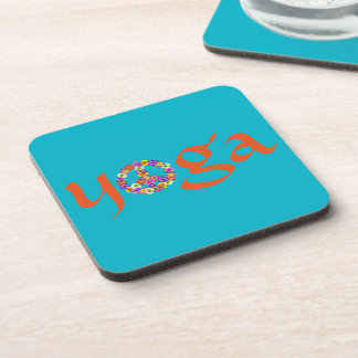 Yoga Peace Sign Floral on Turquoise Beverage Coasters