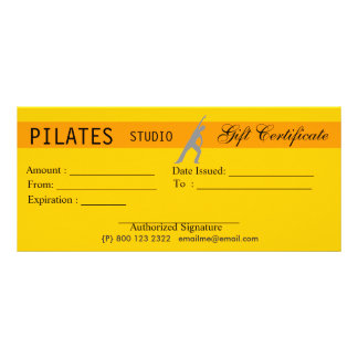 Yoga Pilates Gift Certificate Giveaway 10 Cm X 23 Cm Rack Card