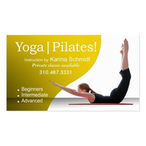 """Yoga   Pilates!"" Pilates Instruction, Yoga Class Business Cards"