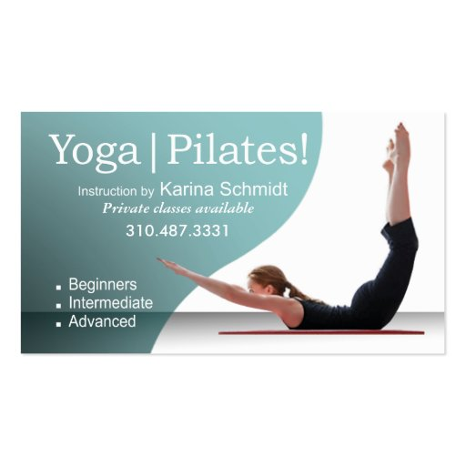 """Yoga   Pilates!"" Pilates Instruction, Yoga Class Business Card Templates"