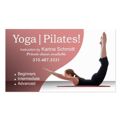 """Yoga   Pilates!"" Pilates Instruction, Yoga Class Business Card Template"