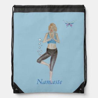 Yoga Pose Drawstring Backpacks