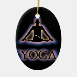 Yoga pose glowing in dark- Cow face gomukhasana Christmas Ornament