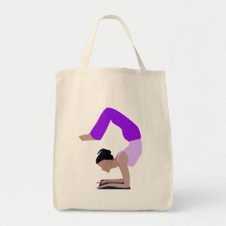 yoga pose grocery tote bag